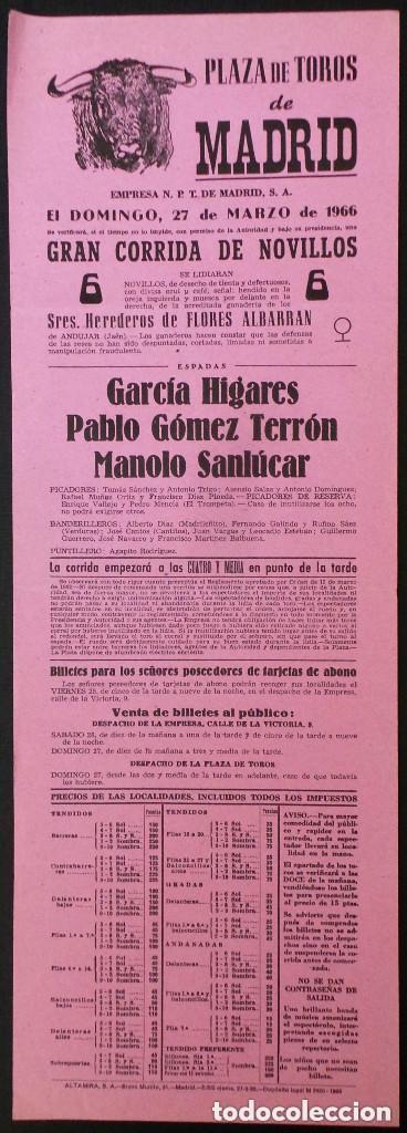CARTEL PLAZA DE TOROS DE MADRID - 1966 (Coleccionismo - Carteles Gran Formato - Carteles Toros)