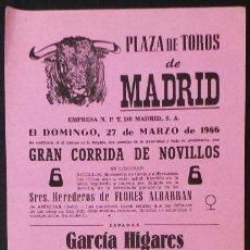 Carteles Toros: CARTEL PLAZA DE TOROS DE MADRID - 1966. Lote 109097927