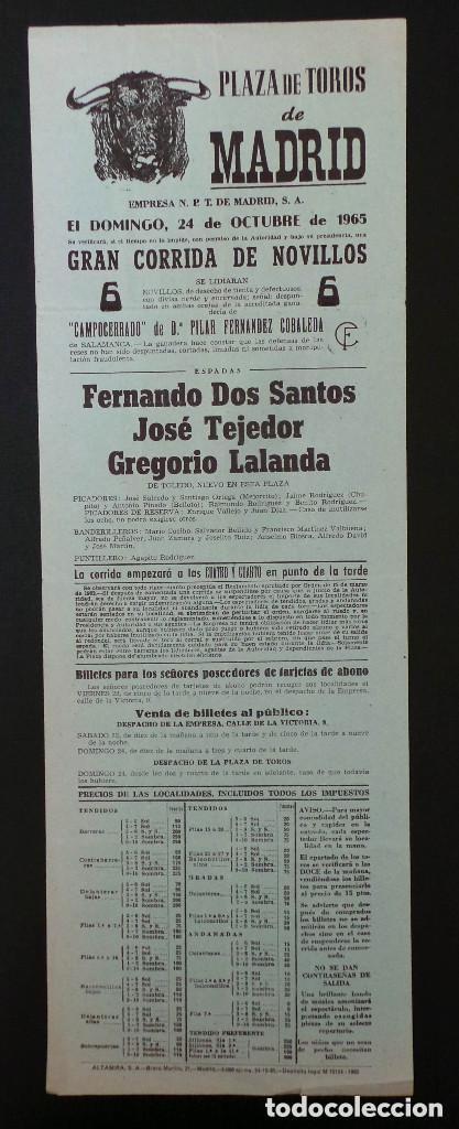 CARTEL PLAZA DE TOROS DE MADRID - 1965 (Coleccionismo - Carteles Gran Formato - Carteles Toros)