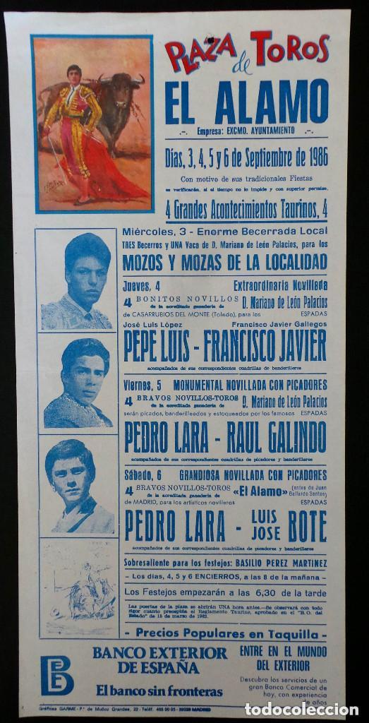 CARTEL PLAZA DE TOROS DE EL ALAMO - MADRID - 1986 (Coleccionismo - Carteles Gran Formato - Carteles Toros)
