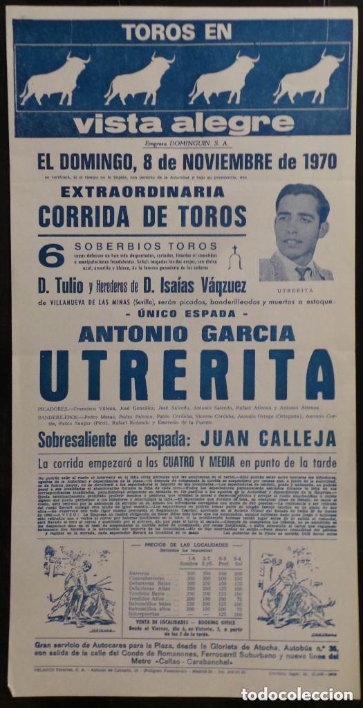 CARTEL PLAZA DE TOROS DE VISTA ALEGRE - 1970 (Coleccionismo - Carteles Gran Formato - Carteles Toros)