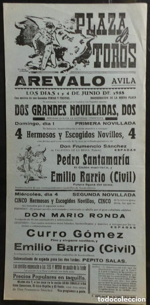 CARTEL PLAZA DE TOROS DE AREVALO - AVILA - 1958 (Coleccionismo - Carteles Gran Formato - Carteles Toros)