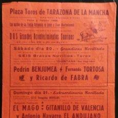 Carteles Toros: CARTEL PLAZA DE TOROS DE TARAZONA DE LA MANCHA - 1969. Lote 109099719