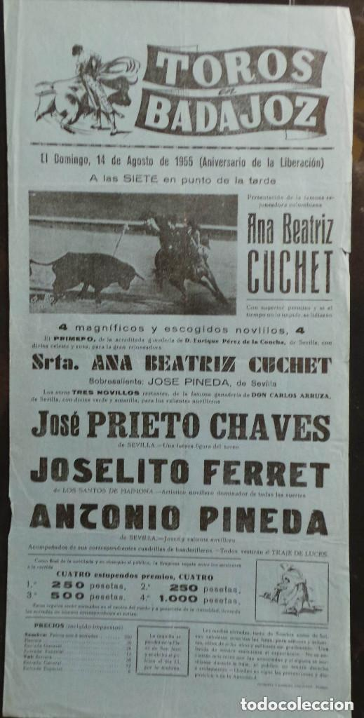 CARTEL PLAZA DE TOROS DE BADAJOZ - 1955 (Coleccionismo - Carteles Gran Formato - Carteles Toros)