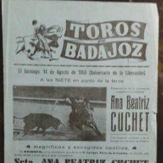 Carteles Toros: CARTEL PLAZA DE TOROS DE BADAJOZ - 1955. Lote 109099923