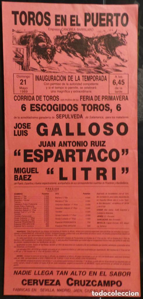 CARTEL PLAZA DE TOROS EN EL PUERTO - 1989 (Coleccionismo - Carteles Gran Formato - Carteles Toros)