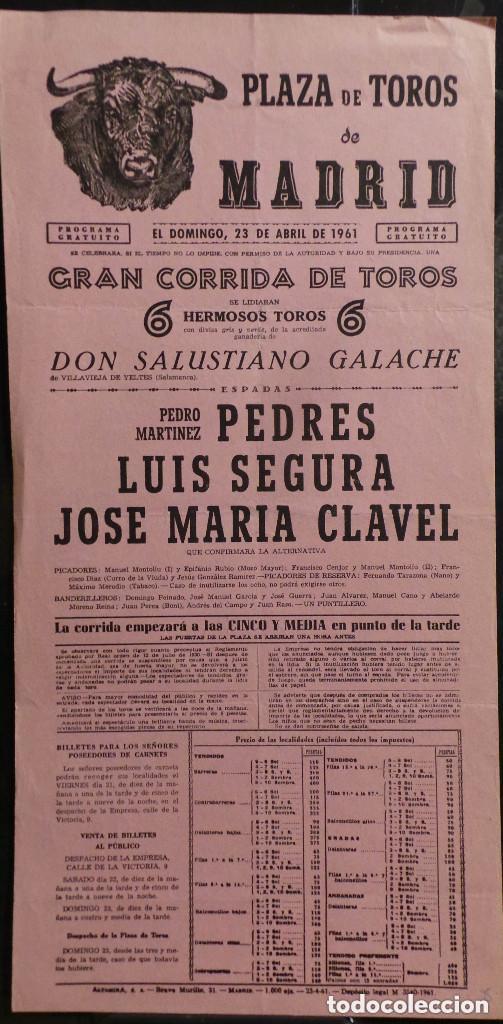 CARTEL PLAZA DE TOROS DE MADRID - 1961 (Coleccionismo - Carteles Gran Formato - Carteles Toros)