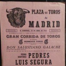 Carteles Toros: CARTEL PLAZA DE TOROS DE MADRID - 1961. Lote 109100283