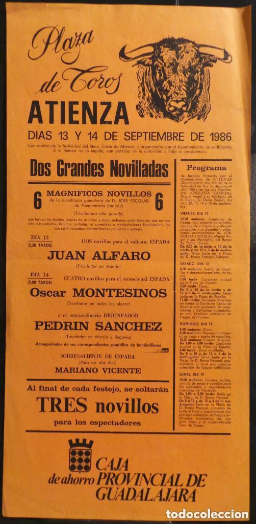 CARTEL PLAZA DE TOROS DE ATIENZA - 1986 (Coleccionismo - Carteles Gran Formato - Carteles Toros)