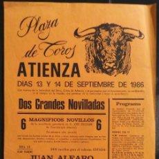 Carteles Toros: CARTEL PLAZA DE TOROS DE ATIENZA - 1986. Lote 109100431