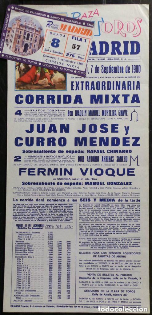 CARTEL Y ENTRADA PLAZA DE TOROS DE MADRID - 1980 (Coleccionismo - Carteles Gran Formato - Carteles Toros)