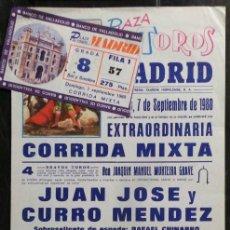 Carteles Toros: CARTEL Y ENTRADA PLAZA DE TOROS DE MADRID - 1980. Lote 109100699