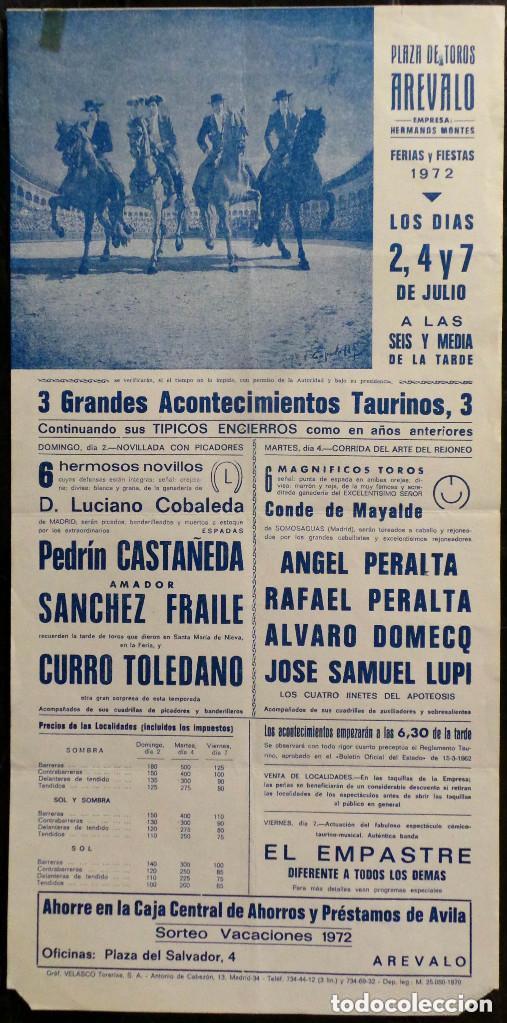 CARTEL PLAZA DE TOROS DE AREVALO - 1972 (Coleccionismo - Carteles Gran Formato - Carteles Toros)