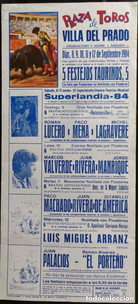 CARTEL PLAZA DE TOROS DE VILLA DEL PRADO - 1984 (Coleccionismo - Carteles Gran Formato - Carteles Toros)