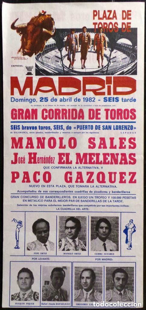 CARTEL PLAZA DE TOROS DE MADRID - 1982 (Coleccionismo - Carteles Gran Formato - Carteles Toros)
