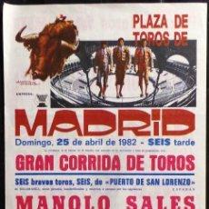 Carteles Toros: CARTEL PLAZA DE TOROS DE MADRID - 1982. Lote 109101607