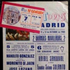 Carteles Toros: CARTEL Y ENTRADA PLAZA DE TOROS DE MADRID - 1980. Lote 109101711