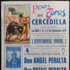 Carteles Toros: CARTEL PLAZA DE TOROS DE CERCEDILLA - 1976. Lote 109102139