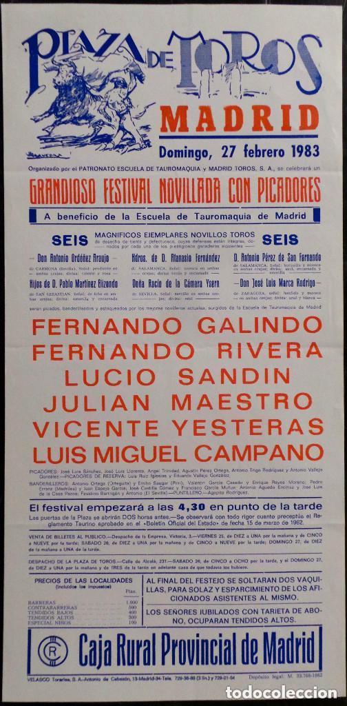 CARTEL PLAZA DE TOROS DE MADRID - 1983 (Coleccionismo - Carteles Gran Formato - Carteles Toros)