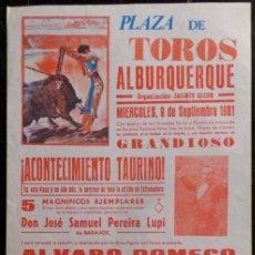 Carteles Toros: CARTEL PLAZA DE TOROS DE ALBURQUERQUE - 1981. Lote 109102755