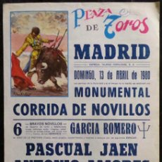 Carteles Toros: CARTEL PLAZA DE TOROS DE MADRID - 1980. Lote 109103311
