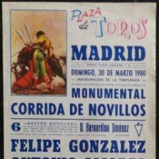 Carteles Toros: CARTEL PLAZA DE TOROS DE MADRID - 1980. Lote 109103387
