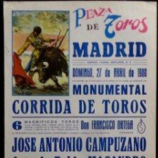 Carteles Toros: CARTEL PLAZA DE TOROS DE MADRID - 1980. Lote 109103495