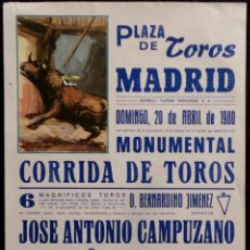 Carteles Toros: CARTEL PLAZA DE TOROS DE MADRID - 1980. Lote 109103611