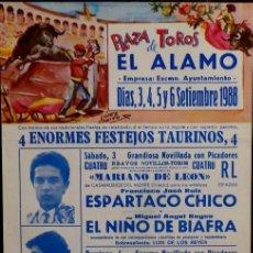 Carteles Toros: CARTEL PLAZA DE TOROS DE EL ALAMO - 1988. Lote 109103867