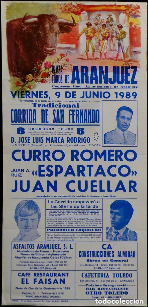 CARTEL PLAZA DE TOROS DE ARANJUEZ - 1989 (Coleccionismo - Carteles Gran Formato - Carteles Toros)