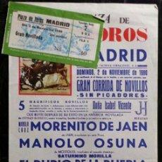 Carteles Toros: CARTEL Y ENTRADA PLAZA DE TOROS DE MADRID - 1980. Lote 109104803