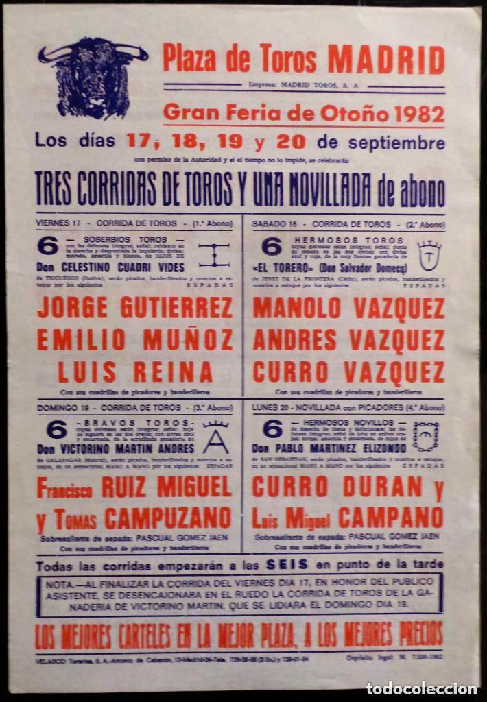CARTEL PLAZA DE TOROS DE MADRID - 1982 - CURRO VAZQUEZ - CURRO DURAN (Coleccionismo - Carteles Gran Formato - Carteles Toros)