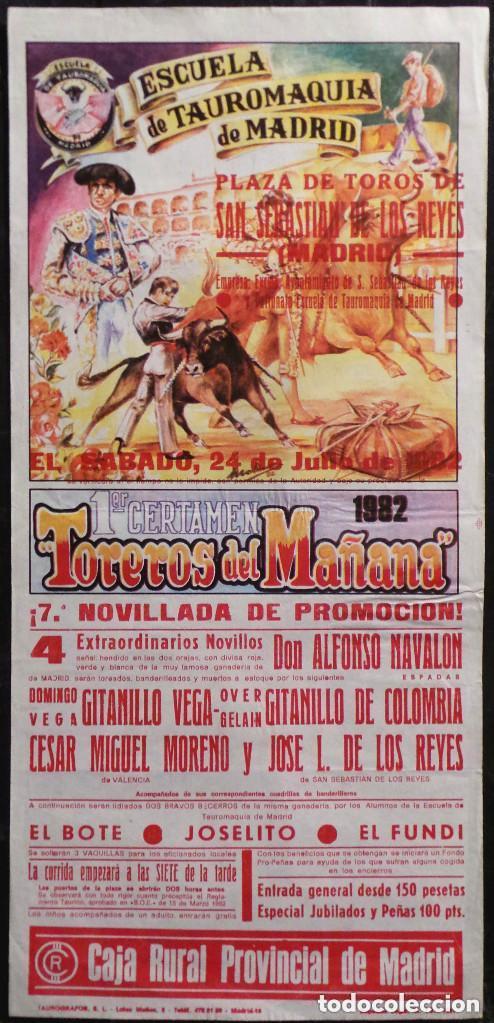CARTEL ESCUELA OFICIAL DE TAUROMAQUIA PLAZA TOROS DE SAN SEBASTIAN DE LOS REYES - MADRID - 1982 (Coleccionismo - Carteles Gran Formato - Carteles Toros)