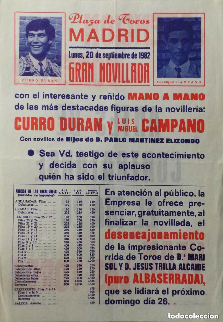 CARTEL PLAZA DE TOROS DE MADRID , 1982 (Coleccionismo - Carteles Gran Formato - Carteles Toros)