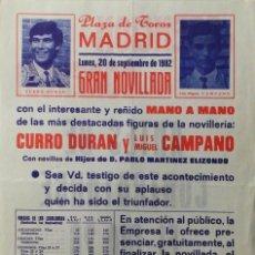 Carteles Toros: CARTEL PLAZA DE TOROS DE MADRID , 1982. Lote 109110123