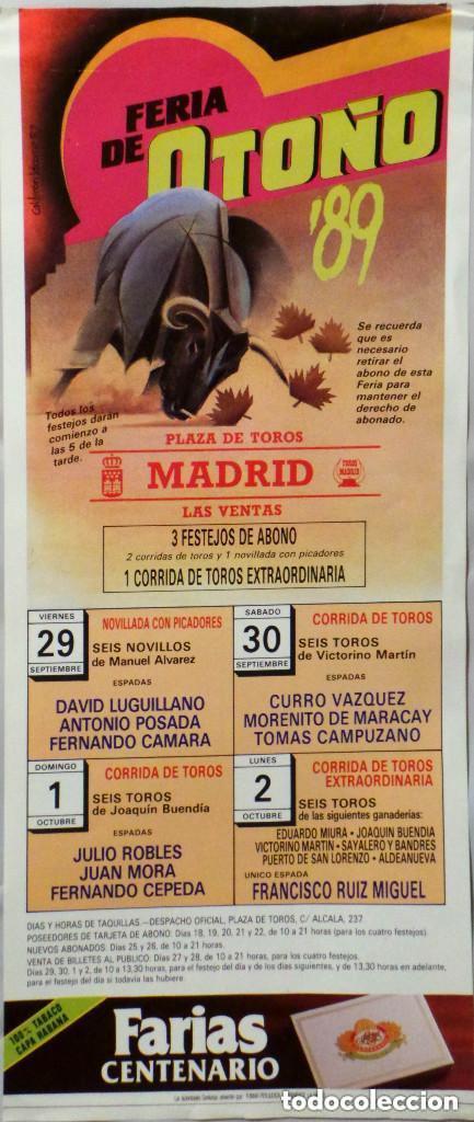 CARTEL PLAZA DE TOROS DE MADRID LAS VENTAS , 1989 (Coleccionismo - Carteles Gran Formato - Carteles Toros)