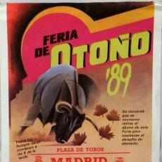 Carteles Toros: CARTEL PLAZA DE TOROS DE MADRID LAS VENTAS , 1989. Lote 109110451
