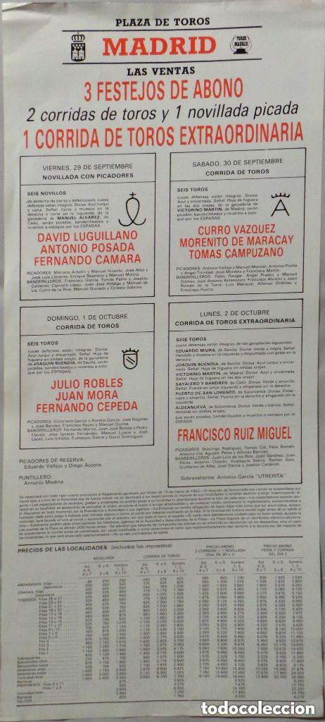 Carteles Toros: CARTEL PLAZA DE TOROS DE MADRID LAS VENTAS , 1989 - Foto 2 - 109110451