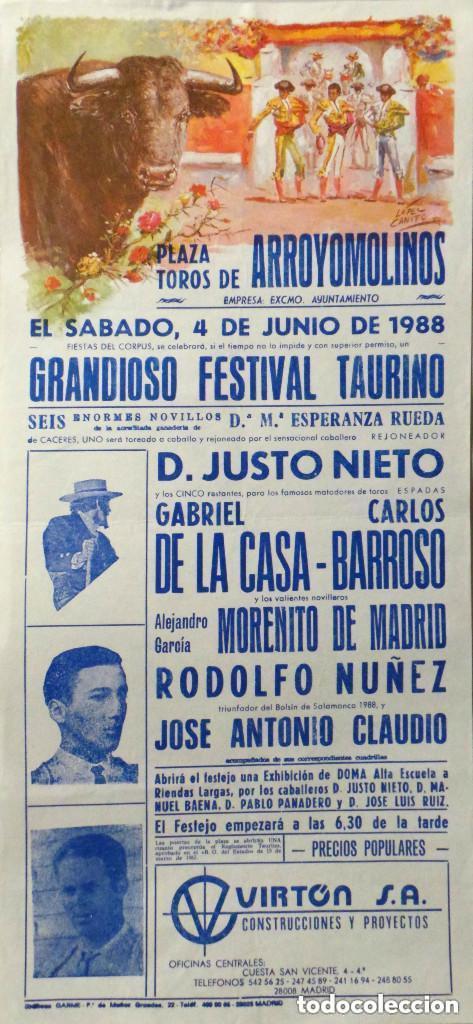 CARTEL PLAZA DE TOROS DE ARROYOMOLINOS 1988 (Coleccionismo - Carteles Gran Formato - Carteles Toros)