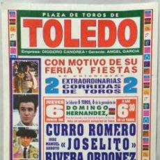 Carteles Toros: CARTEL PLAZA DE TOROS, TOLEDO, 1996 - ORTEGA CANO, AMILIO MUÑUZ, LITRI, RIVERA ORDOÑEZ. Lote 109112239