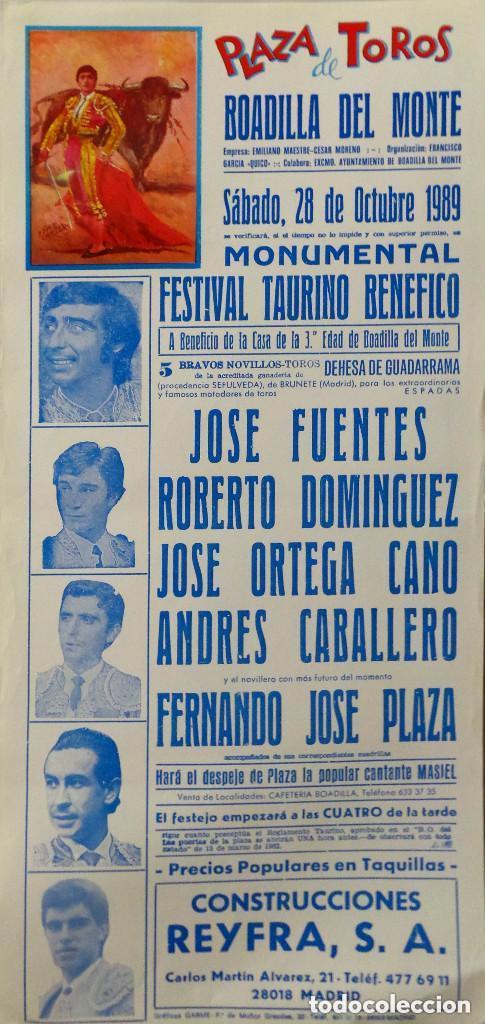 CARTEL PLAZA DE BOADILLA DEL MONTE - 1989 (Coleccionismo - Carteles Gran Formato - Carteles Toros)