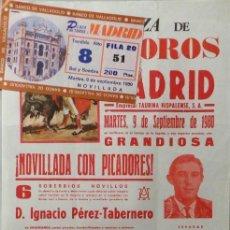 Carteles Toros: CARTEL Y ENTRADA PLAZA DE TOROS DE MADRID 1980. Lote 109179011