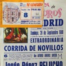 Carteles Toros: CARTEL Y ENTRADA PLAZA DE TOROS DE MADRID 1980. Lote 109180227
