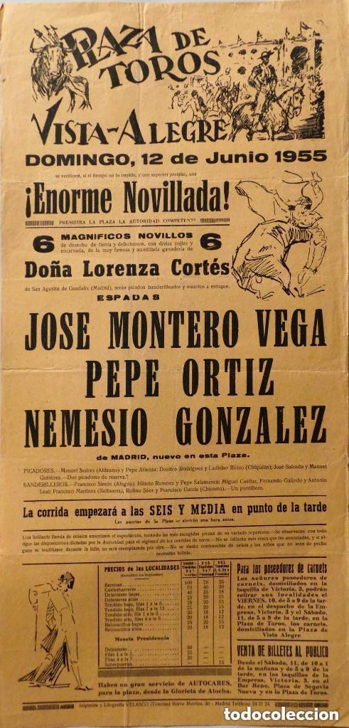 CARTEL PLAZA DE TOROS DE VISTA ALEGRE - CARABANCHEL - 1955 (Coleccionismo - Carteles Gran Formato - Carteles Toros)