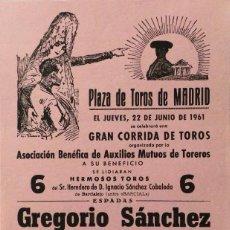 Carteles Toros: CARTEL PLAZA DE TOROS DE MADRID - 1961. Lote 109180539