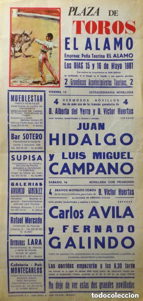 CARTEL PLAZA DE TOROS DE EL ALAMO 1981 (Coleccionismo - Carteles Gran Formato - Carteles Toros)