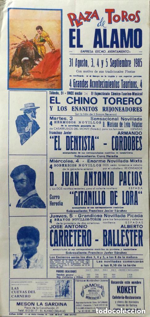 CARTEL PLAZA DE TOROS DE EL ALAMO , 1985 (Coleccionismo - Carteles Gran Formato - Carteles Toros)