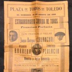 Carteles Toros: CARTEL PLAZA DE TOROS DE TOLEDO. FRANCISCO PERLACIA 1928. Lote 109236167