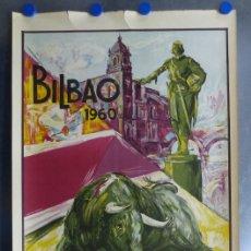 Carteles Toros: CARTEL TOROS BILBAO - AÑO 1960, LITOGRAFIA - ILUSTRADO POR GARCIA CAMPOS. Lote 114332876