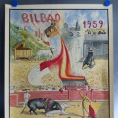 Cartazes Touros: CARTEL TOROS BILBAO - AÑO 1959, LITOGRAFIA - ILUSTRADO POR E. ZUBIA. Lote 154782594